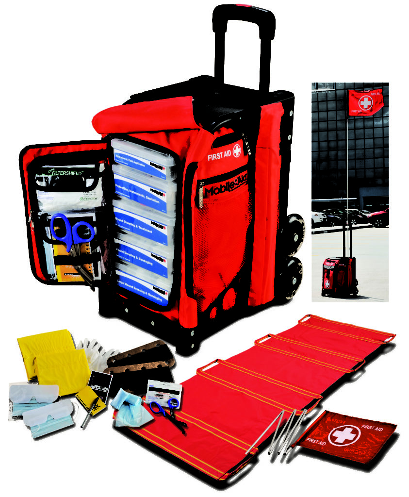 emergency kit of red color