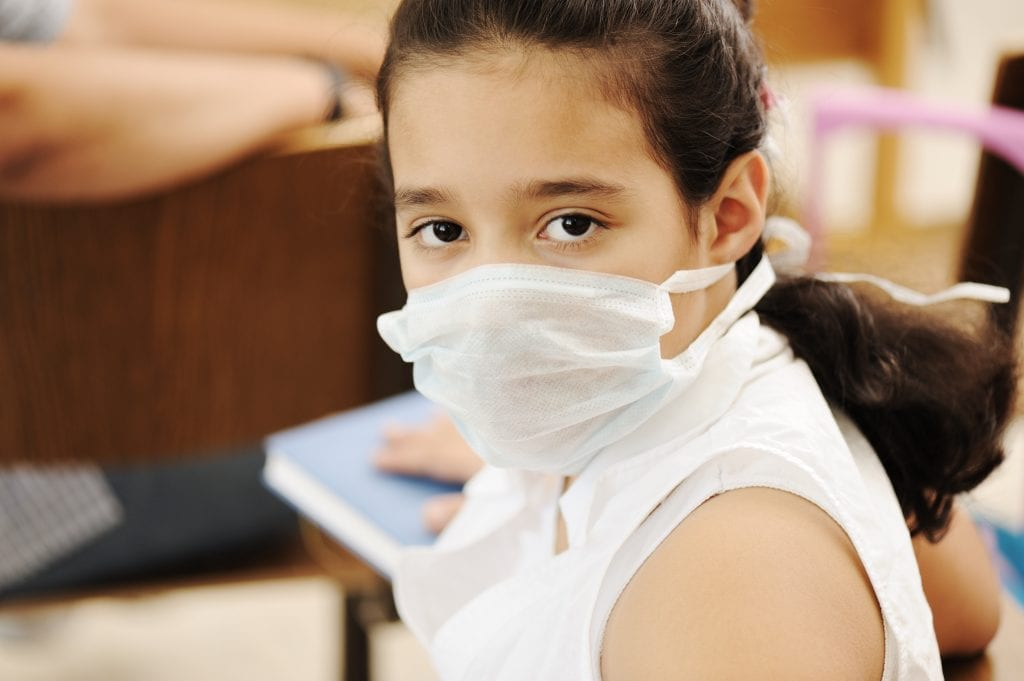 Schoolgirl with medicine mask