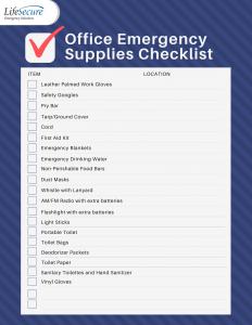 Office Emergency Supplies Checklist