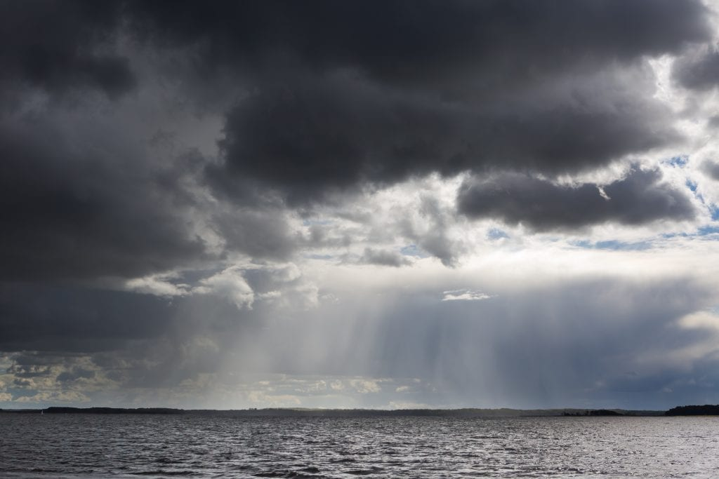Stormy lake landscape